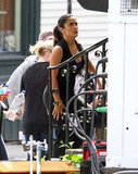 Salma Hayek arrived on set in Massachusetts to shoot Grown Ups 2.