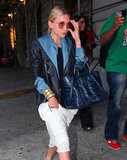 Ashley Olsen carried a blue tote in NYC.