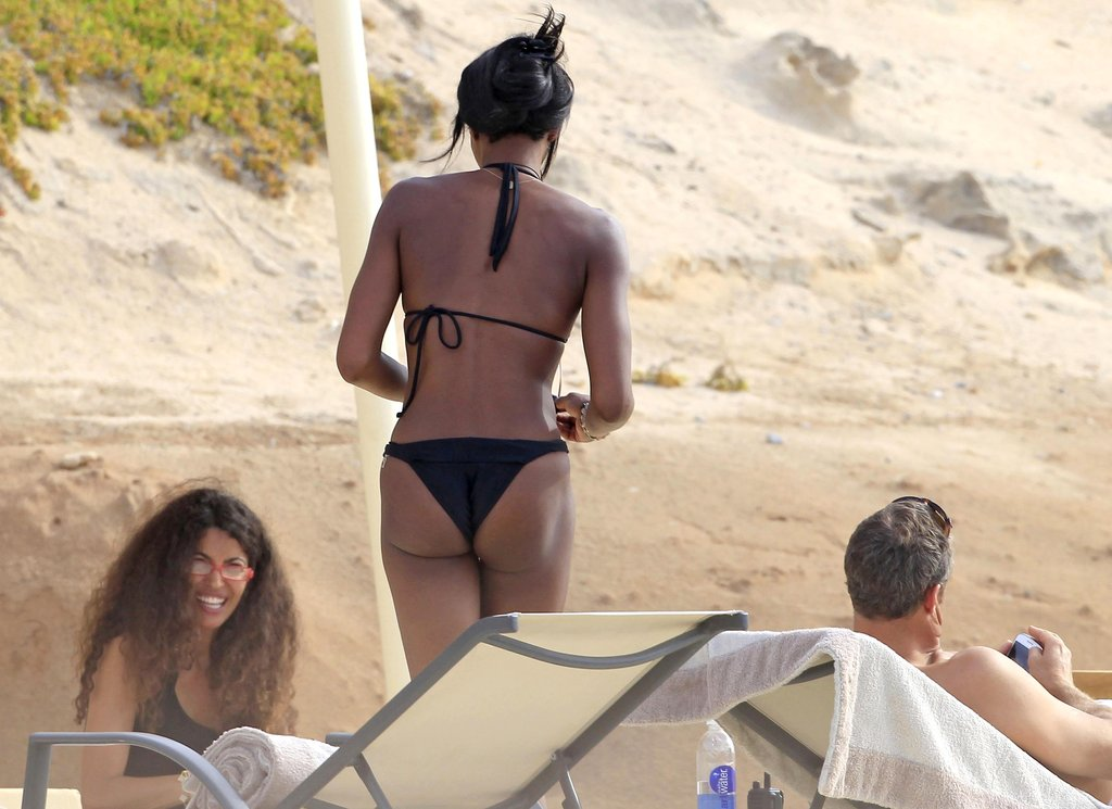 Naomi Campbell showed off her beach body in a black bikini in Ibiza.