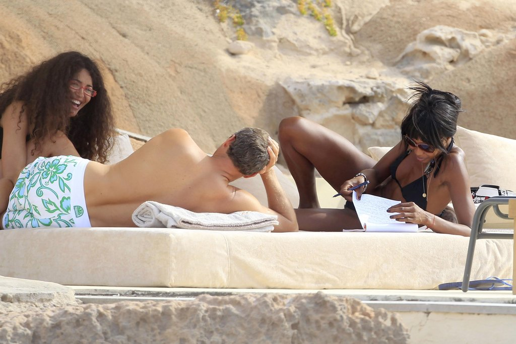 Naomi Campbell laughed with her friends wearing a bikini in Ibiza.