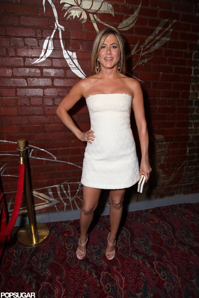 Jennifer Aniston posed in a sexy white dress.