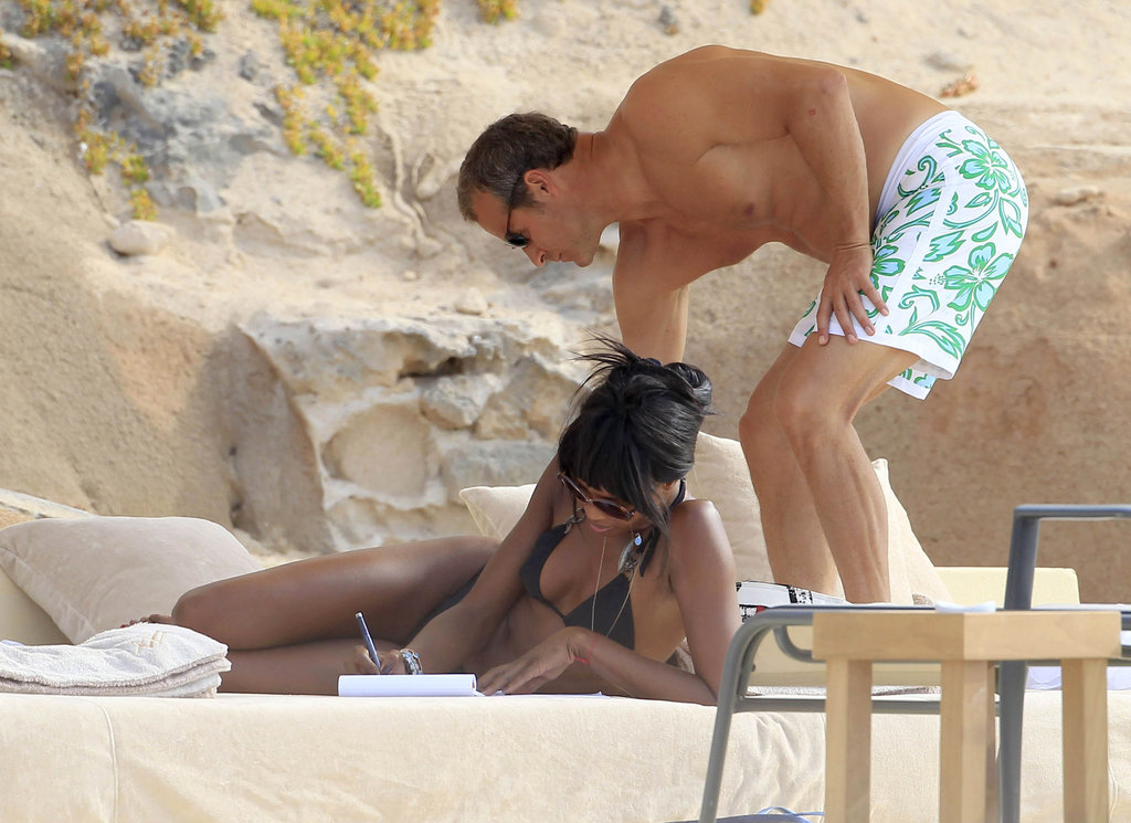 Naomi Campbell lounged in the company of a friend in Ibiza.