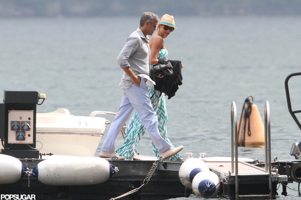 George Clooney and Stacy Keibler walked on a dock in Lake Como.