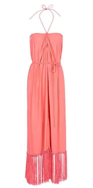 This Reiss halter is perfect as a coverup, a sundress, and a sweet dining-out option. Reiss Senna Halter Dress With Fringing in Coral ($320)