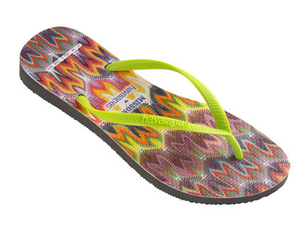Missoni teamed up with Havaianas to create a fun take on the iconic flip-flop. The neon thong strap says it all. Missoni For Havaianas Slim Rachel ($70)