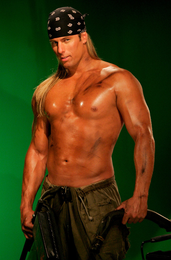 A Chippendales performer posed shirtless for a calendar shoot in 2005.