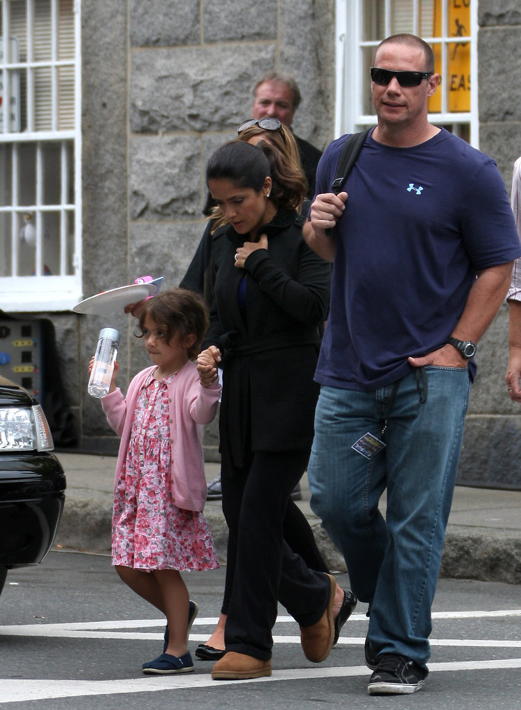 Salma Hayek crossed the street with her daughter, Valentina, on the set of Grown Ups 2 in Massachusetts.