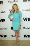 Chloe Moretz posed in a long-sleeved blue dress.