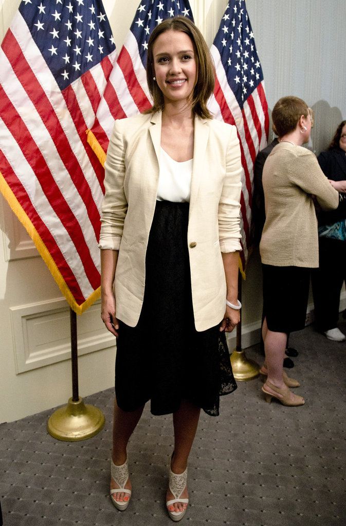Jessica Alba spoke at a press conference in Washington DC in May 2011.