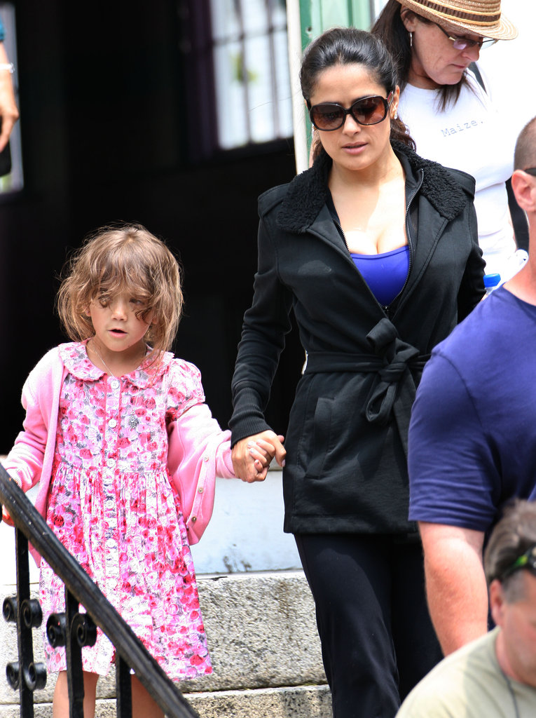 Salma Hayek hung out with daughter Valentina on the set of Grown Ups 2 in Massachusetts.