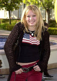Hilary Duff sported an American flag while posing at LA's Paramount Studios in December 2001.