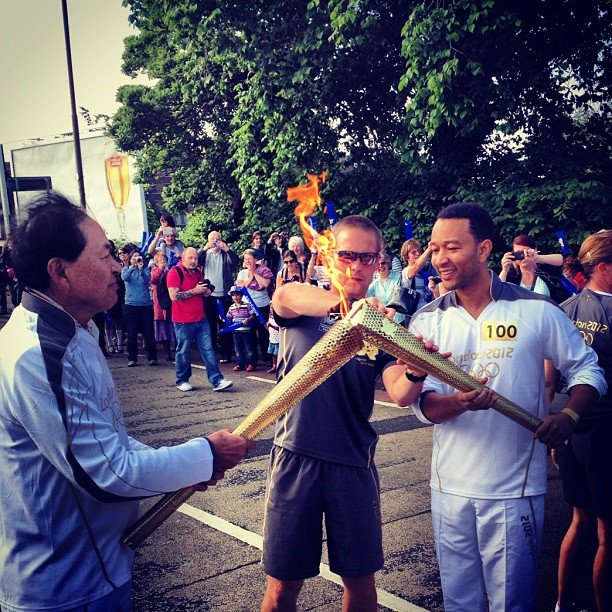 John Legend ran with the Olympic torch in Edinburgh, Scotland. Source: Instagram user johnlegend