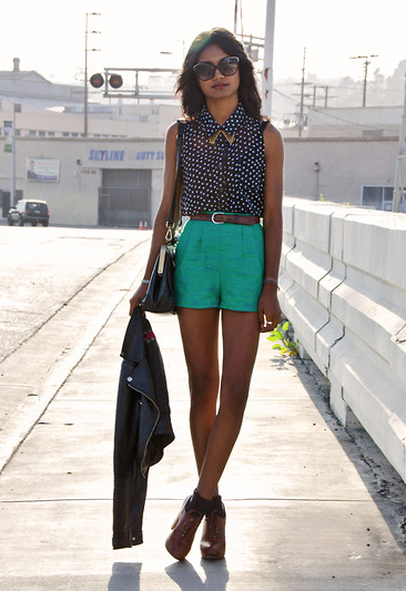 Pair Summer brights against a printed blouse for a pulled-together dressed-down look. Photo courtesy of Lookbook.nu