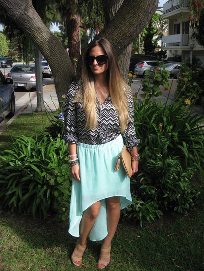 Mint Zara Skirt. Chevron Print Top Missoni for Target. GiGi New Year All In One Clutch. Sole Society Wedges. Ombre Hair Color