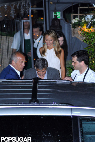 George Clooney and Stacy Keibler enjoyed a dinner date in Lake Como.