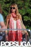 Stacy Keibler wore black shades and a scarf in Lake Como.