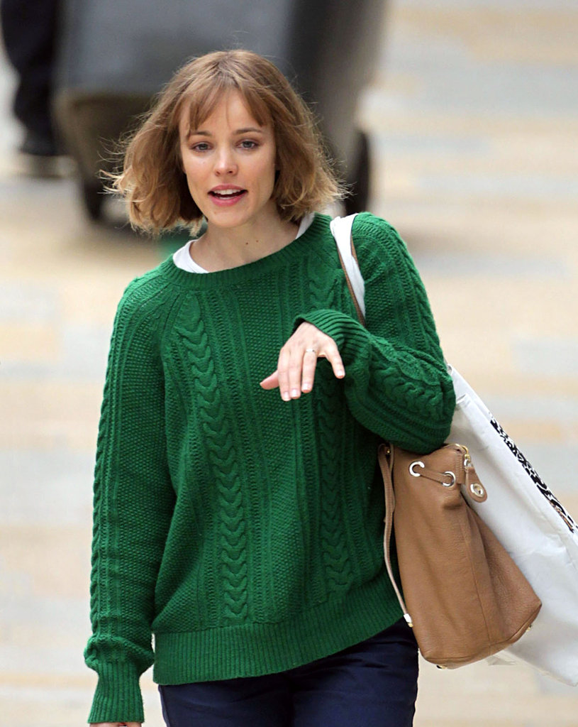 Rachel McAdams caught a train in London.