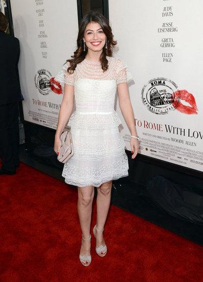 Alessandra Mastronardi wore a white dress to the LA premiere of To Rome With Love.