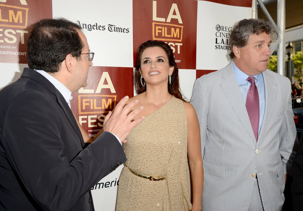 Penelope Cruz chatted with Michael Barker and Tom Bernard at the LA premiere of To Rome With Love.