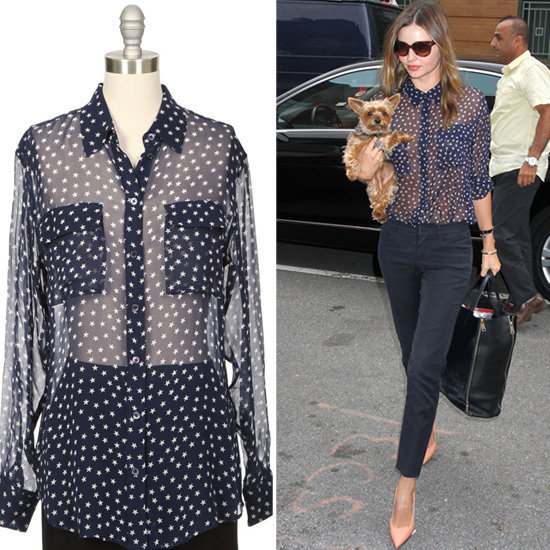 Suit up in the same sheer blouses as Miranda Kerr.