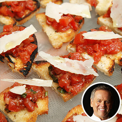 Celebrity Chef Wolfgang Puck's Spicy Tomato and Basil Bruschetta