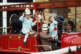 Prince William and Prince Harry played with their cousin Peter Phillips on a fire engine at Sandringham House in January 1988.