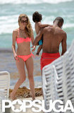 Doutzen Kroes wore a bikini and played with her family.