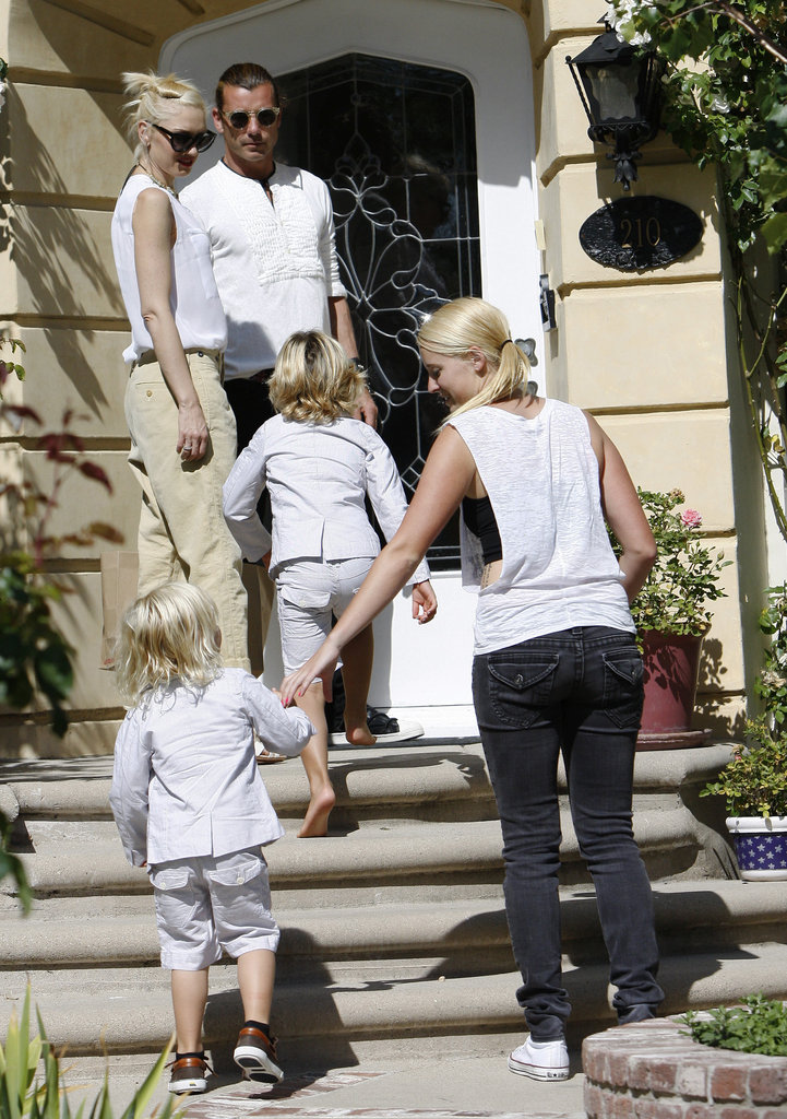 Gwen Stefani, Gavin Rossdale, and their boys, Kingston Rossdale and Zuma Rossdale, arrived at Gwen's parents' home for Father's Day.