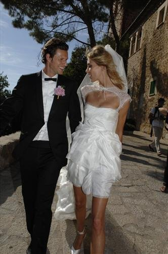 Anja Rubik married Sasha Knezevic in a custom Pucci by Peter Dundas dress on the Spanish island of Mallorca in July 2011.