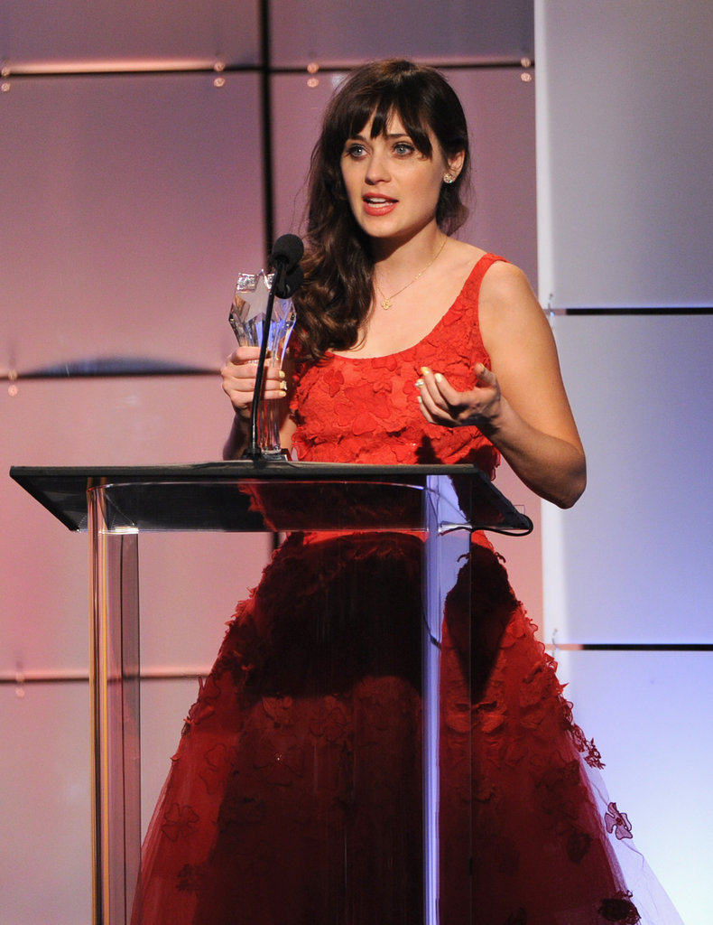 Zooey Deschanel was on hand to receive her award at the Critics' Choice Television Awards in LA.