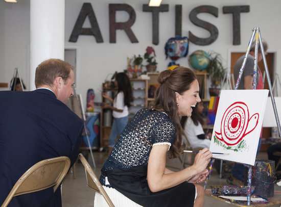 In July 2011, Prince William and Kate Middleton visited an inner city art program in LA and joked about each other's paintings.