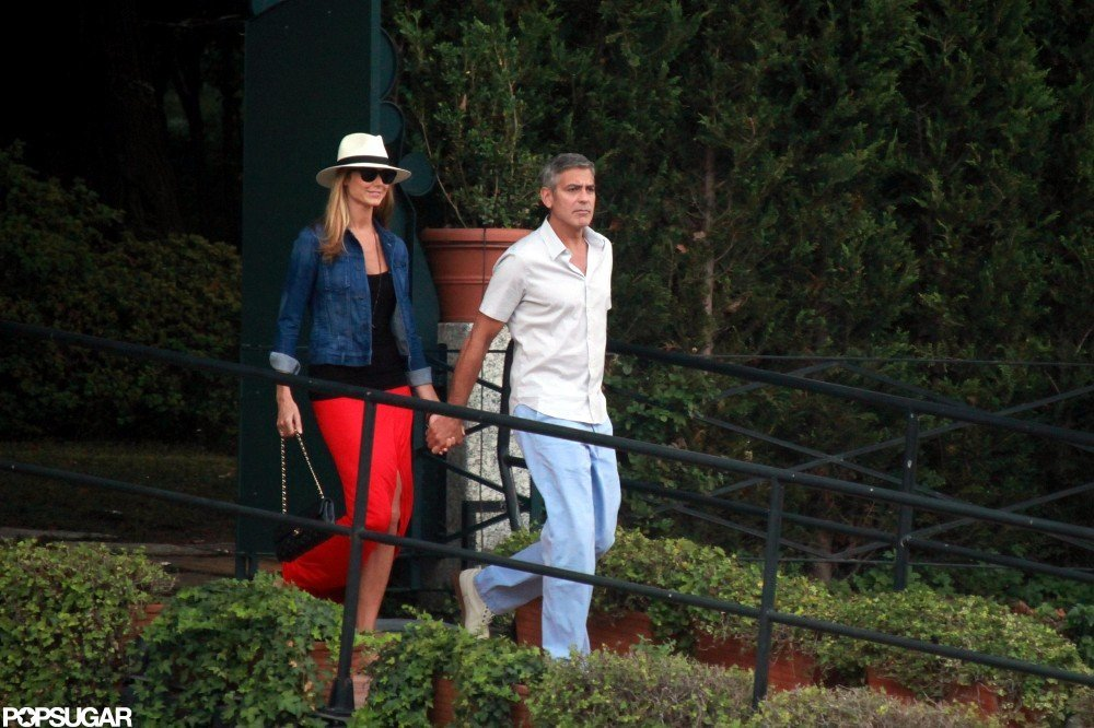 George Clooney held Stacy Keibler's hand while in Lake Como in June 2012.