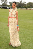 Zoe chose a high-neck floral Chloe dress, Valentino heels, and a Lanvin clutch for the 2011 Santa Barbara polo match.