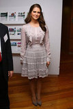 Madeleine showed off her femininity in a ruffle-adorned day dress for an event in NYC in 2011.