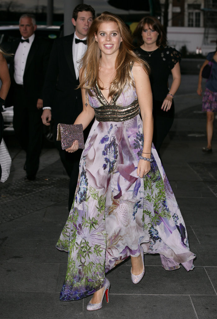 The princess looked gorgeous in a floral-print, embellished halter dress for a ball in October 2011.