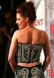 The back of Kristen's exotic Balmain look.