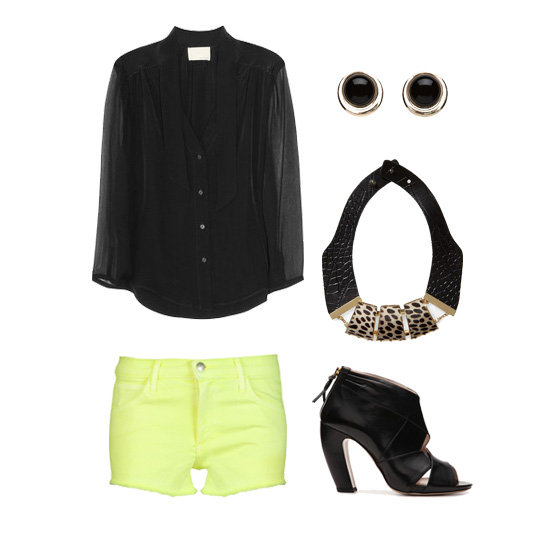 We're loving this look for a hot date — pair neon cutoffs with a slightly sheer button-down top, then add cool cutout heels and a conversation-starting statement necklace. Get the look:  Girl. by Band of Outsiders Sheer-Sleeved Silk Top ($350) Charlotte Russe Black & Gold Stud Earrings ($6) Tinley Road Faux Leather and Haircalf Collar Necklace ($38) Miu Miu Leather Peep Toe Platform Bootie ($500) Joe's Jeans Cut-Off Shorts ($149)