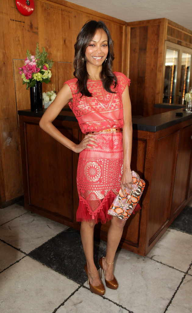 How Summer-perfect is this coral and crochet-inspired Alexis Mabille Couture dress? Zoe chose this bright number for The Hollywood Reporter's 25 Most Powerful Stylists luncheon in March 2012.