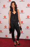 She chose a black silky Barbara Bui Resort '12 jumpsuit for the DROID RAZR launch event in October 2011.