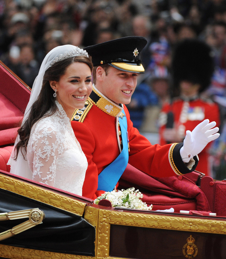 Prince William beamed on his wedding day, April 29, 2011, with new wife Kate Middleton.