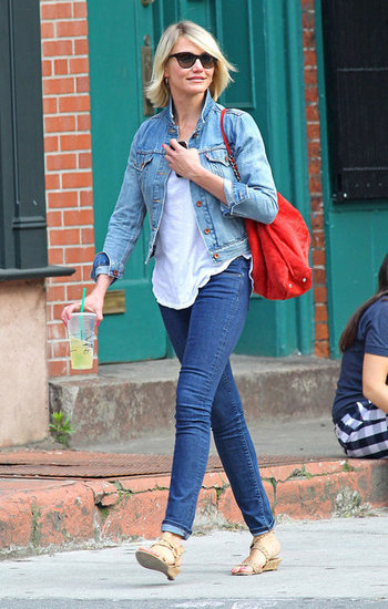 Cameron Diaz walked in NYC in a denim jacket.