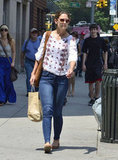 Katie Holmes carried a bag of groceries while walking in NYC.