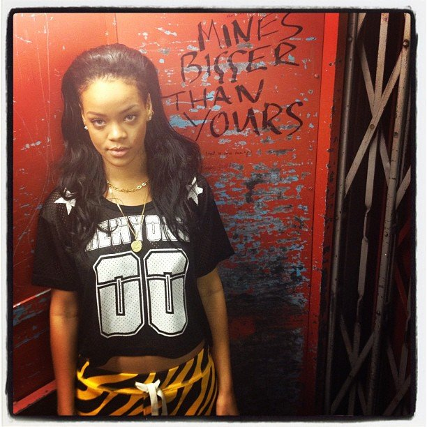 Rihanna posed next to some elevator art. Source: Instagram user badgalriri