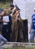 Angelina Jolie on the set of Maleficent.