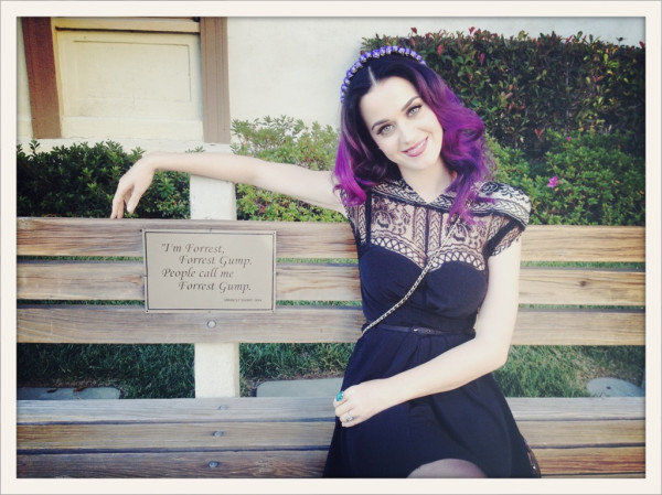 Katy Perry sat on the bench featured in Forrest Gump. Source: Twitter user katyperry