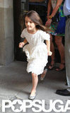 Suri Cruise and Katie Holmes left their hotel in NYC.