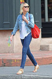 Cameron Diaz went for a walk in NYC with a red bag.