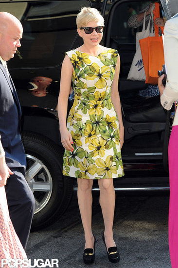 Michelle Williams wore a bright sundress.