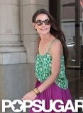 Katie Holmes wore a printed green and white tank while out in NYC.
