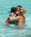 Doutzen Kroes planted a kiss on her son, Phyllon.